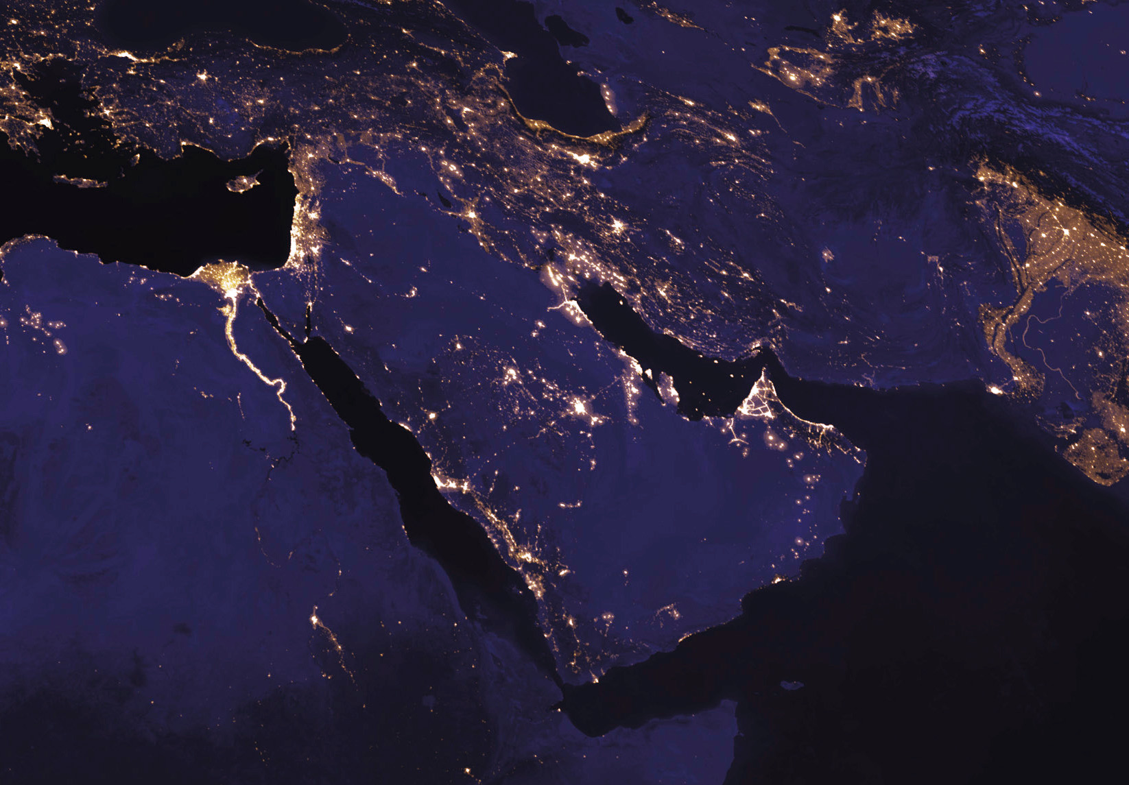 The Middle East at night from space