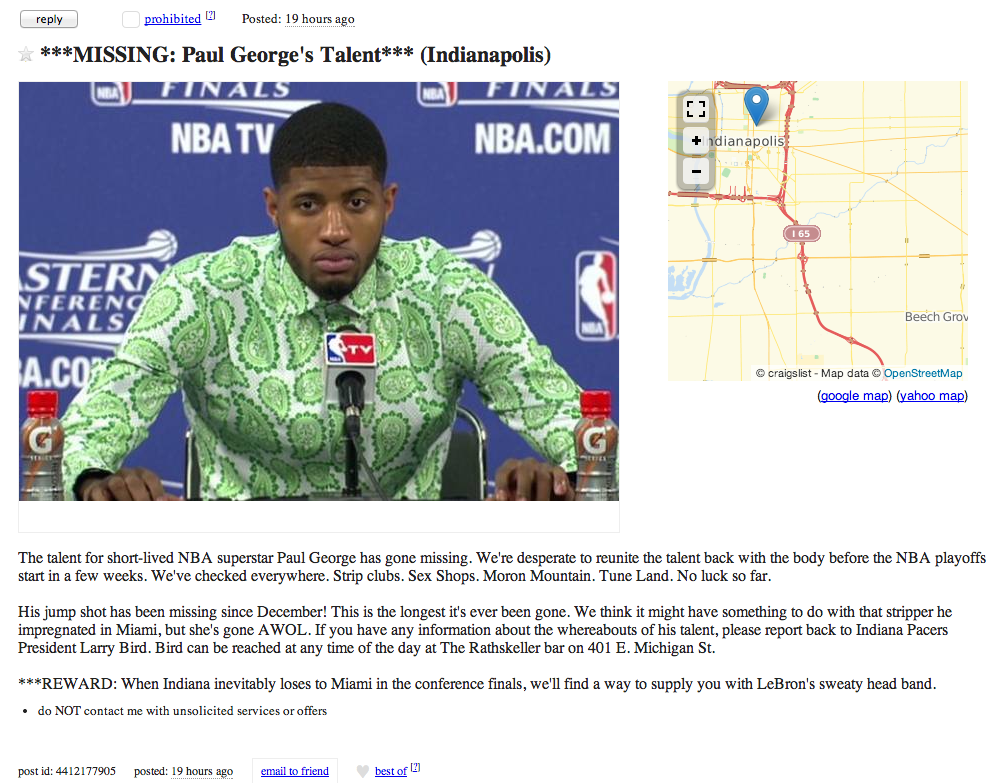 A Craigslist Poster Is Searching For Paul George S Missing Talent Sbnation Com We are going to write about craigslist indianapolis cars, boats, pictures and other used things. sb nation