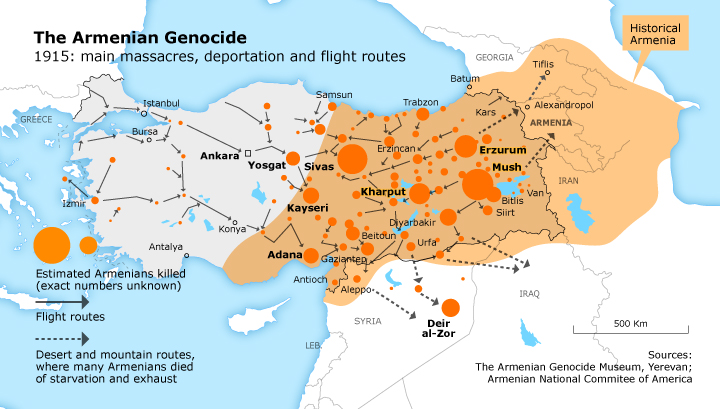 Ottoman Turks commit genocide against the Armenians