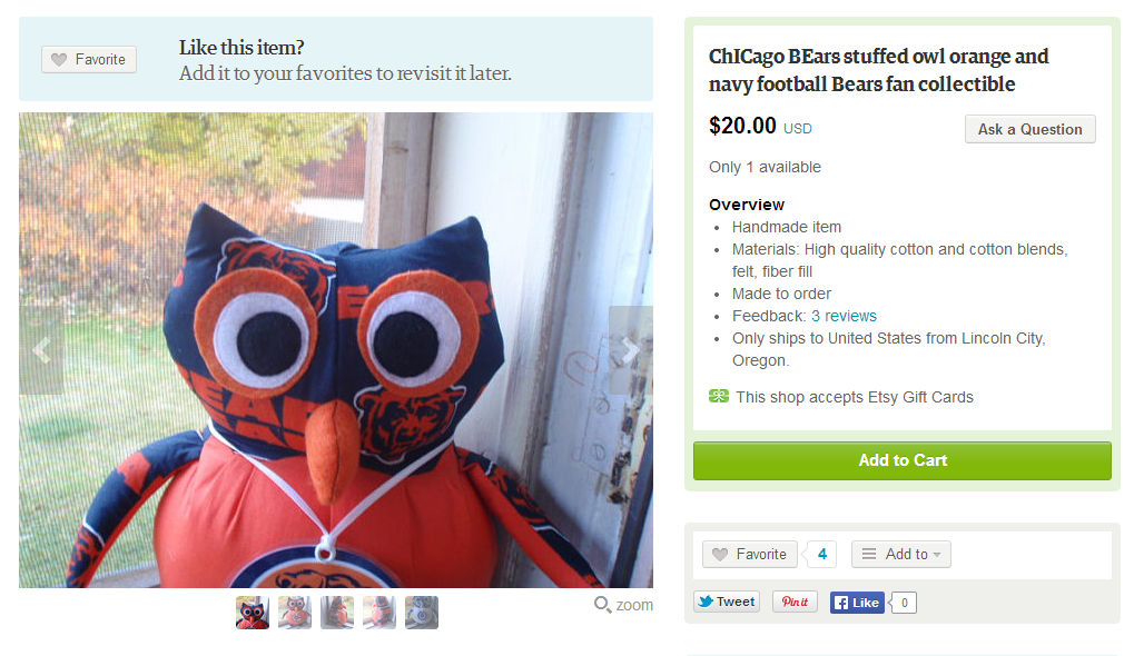 You Can Buy Some Weird Chicago Bears Stuff On Etsy Windy