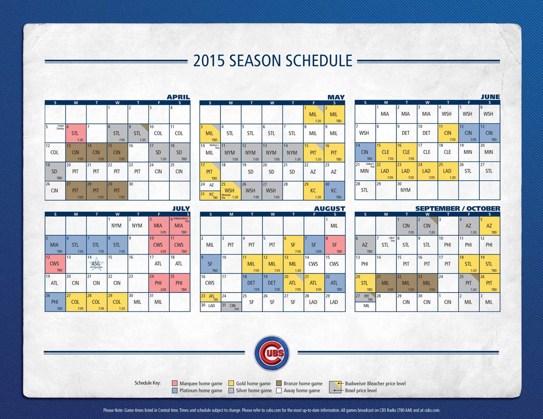 graphic regarding Printable Cubs Schedule known as Cubs Launch 2015 Ticket Expense Tiers - Bleed Cubbie Blue