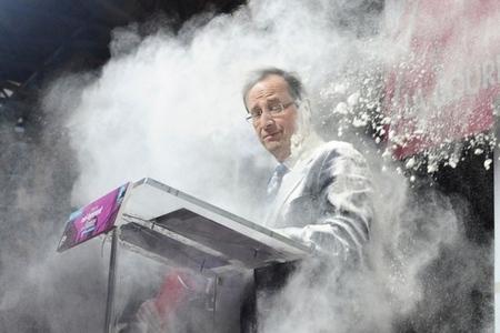 François Hollande flour bomb