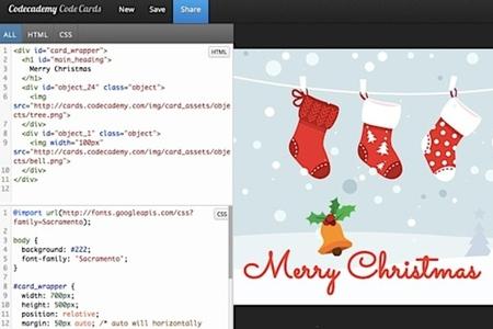 codecademy holiday card screenshot