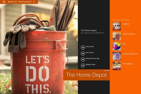 Bing Hero ad Home Depot