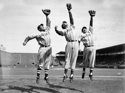 Bobby-doerr-ted-williams-and-dom-dimaggio-leap-for-the-camera