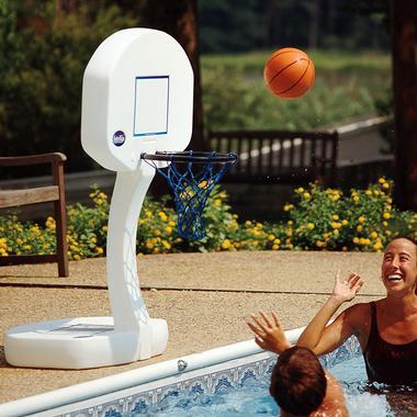2-in-1 Swimming Pool Game Set: Basketball Hoop