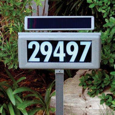 Solar-Powered Address Light, showing address