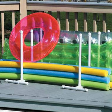 Noodle Organizer holding several swimming pool noodles