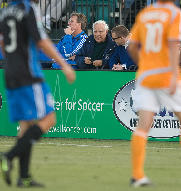 Earthquakes owner Lew Wolff watching the team at Buck Shaw Stadium in Santa Clara. Photo: John Todd, centerlinesoccer.com, isiphotos.com