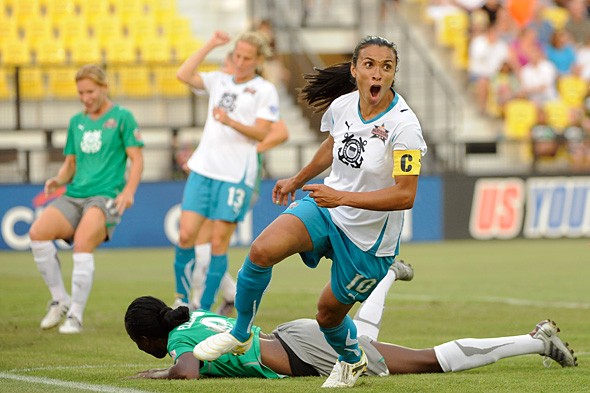 Marta celebrates her second goal in the WPS All-Star Game. Photo: Howard C. Smith, isiphotos.com