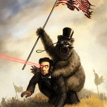 Top-hat-bear-on-lincoln-with-flag-and-laser-eyes