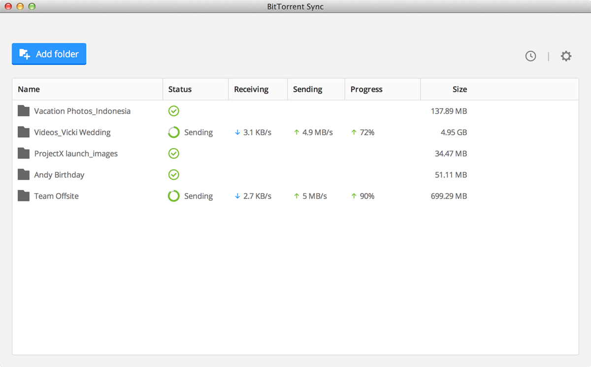 BitTorrent Sync 1.4 Screenshot