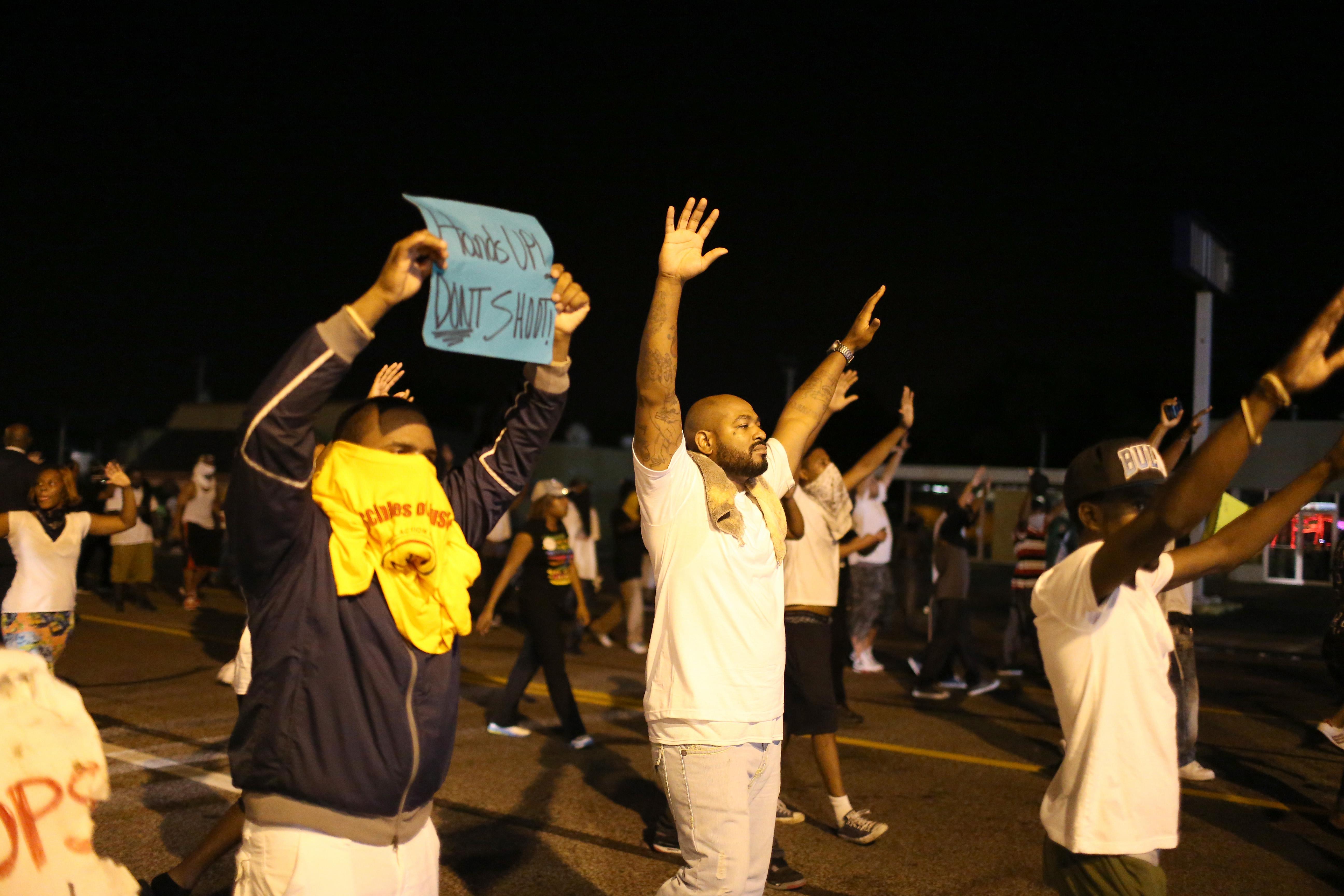 Ferguson protest hands up
