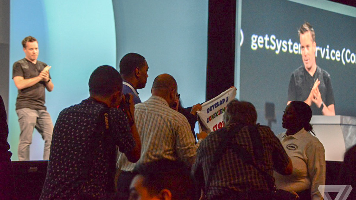 Here's why two protesters disrupted Google's biggest event of the year