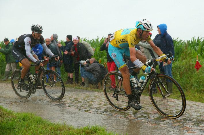 Photo: Paris-Roubaix or Dwars Door Vlaanderen. Pick you thumping Niki Terpstra moment.