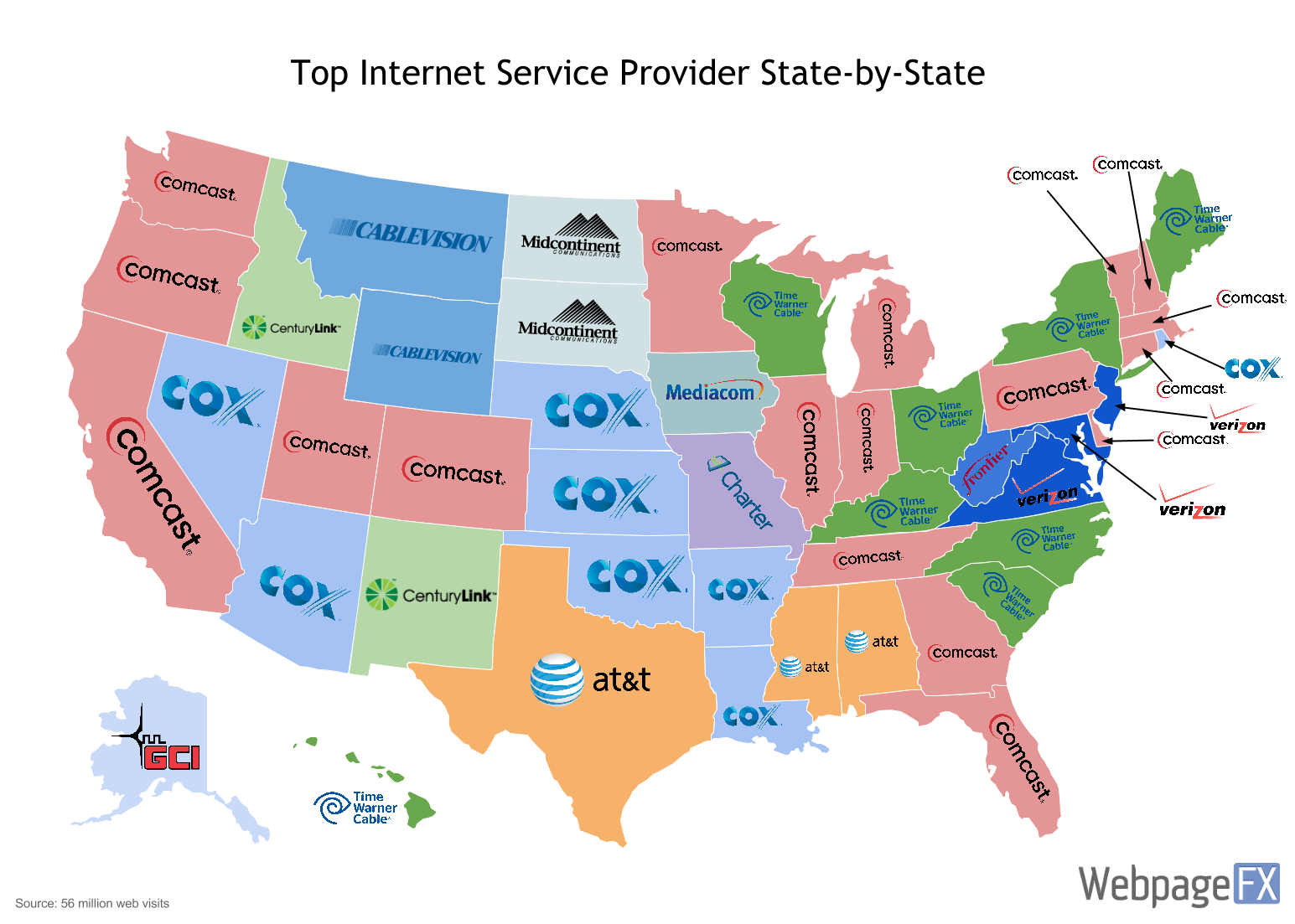 Maps That Explain The Internet - Us map divided into 4 regions