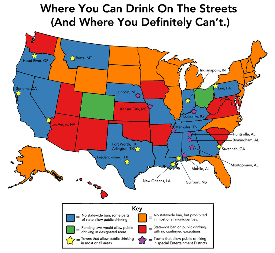 where you can drink on the street