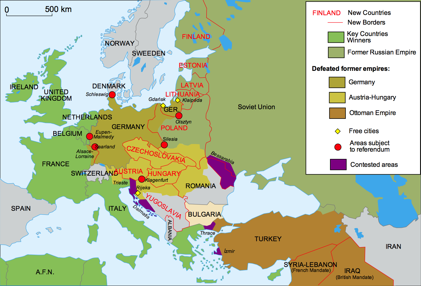 40 maps that explain world war i vox changes to europe after world war i gumiabroncs