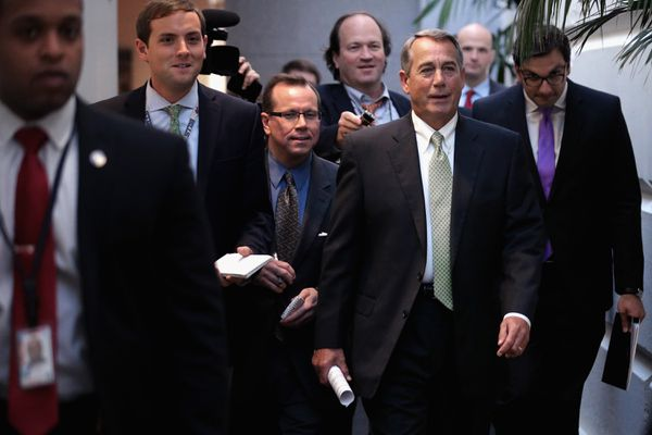 John Boehner, looking positively ecstatic.