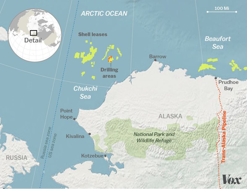 Map of Shell's drilling areas in the Arctic