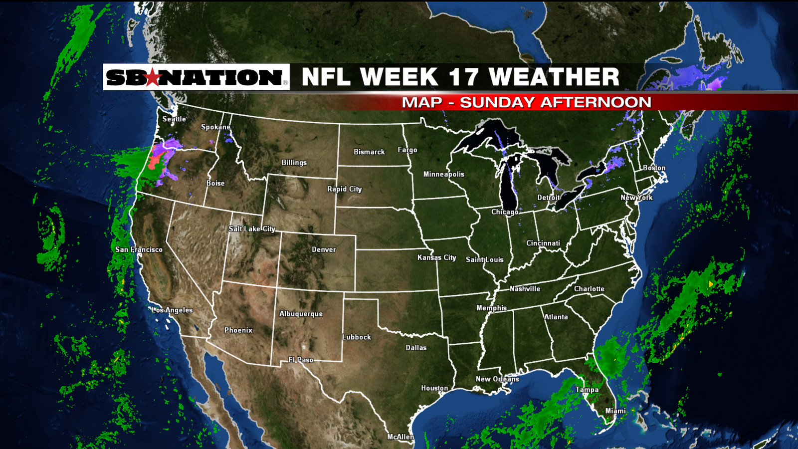 nfl weather forecast  week 17  mixed bag of weather