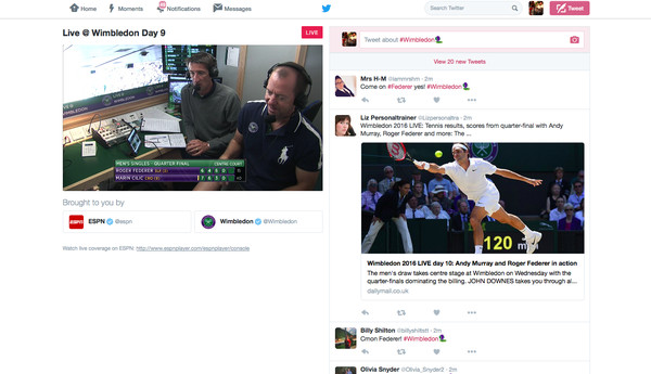 Twitter goes Live with Wimbledon stream