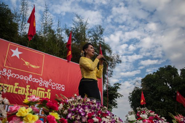 Aung San Suu Kyi addresses a rally on October 24.