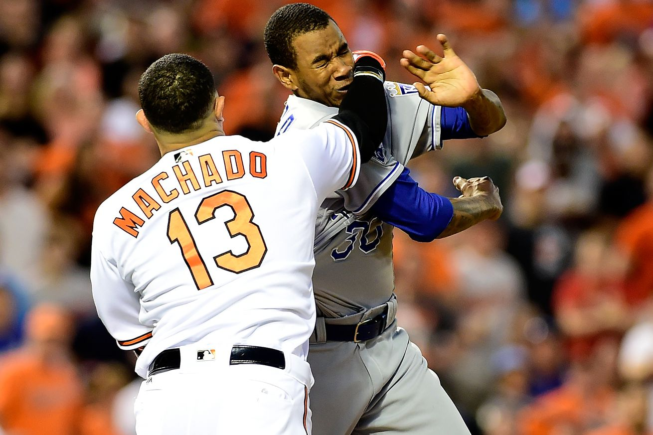 Manny Machado hit by headhunting Yordano Ventura, punches ...