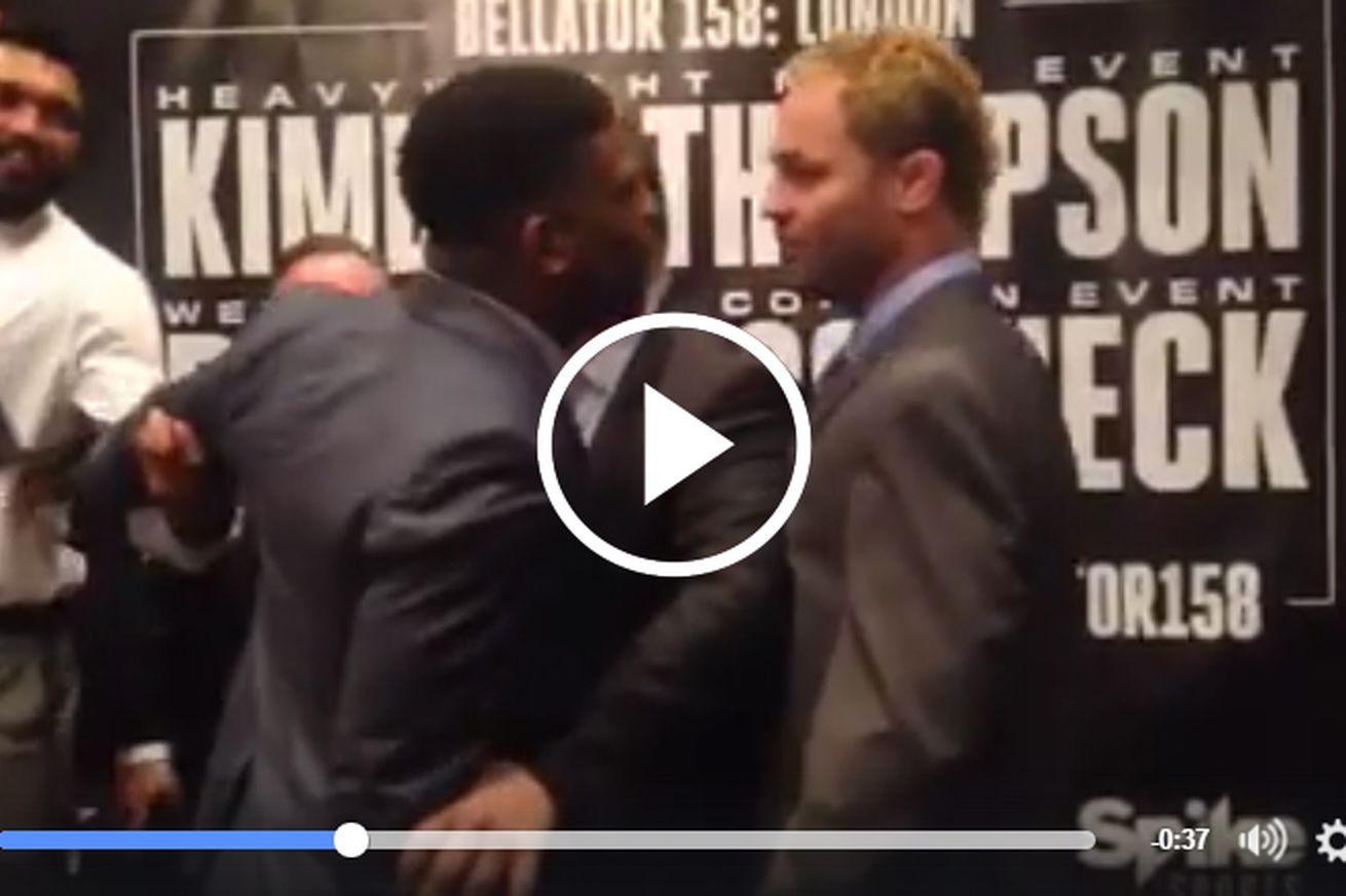 Video: Paul Daley restrained in London after Bellator staredown with Josh Koscheck turns physical