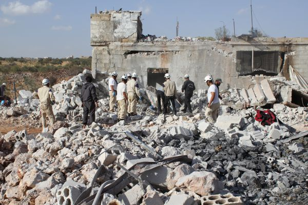 Building wreckage in the aftermath of a Russian airstrike