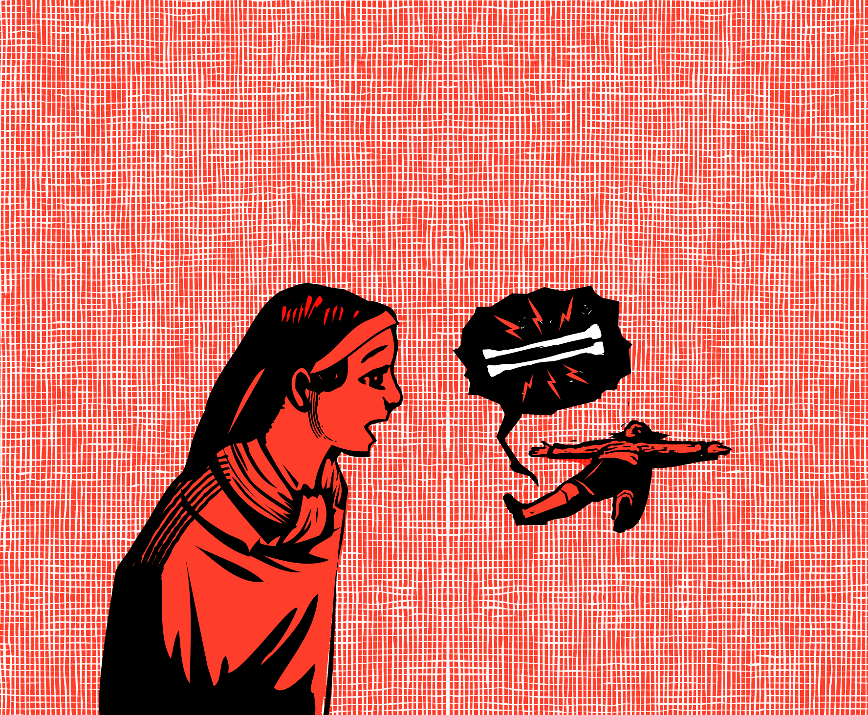 Illustration of a nun near a child on the ground, with a speech bubble with bones inside it.