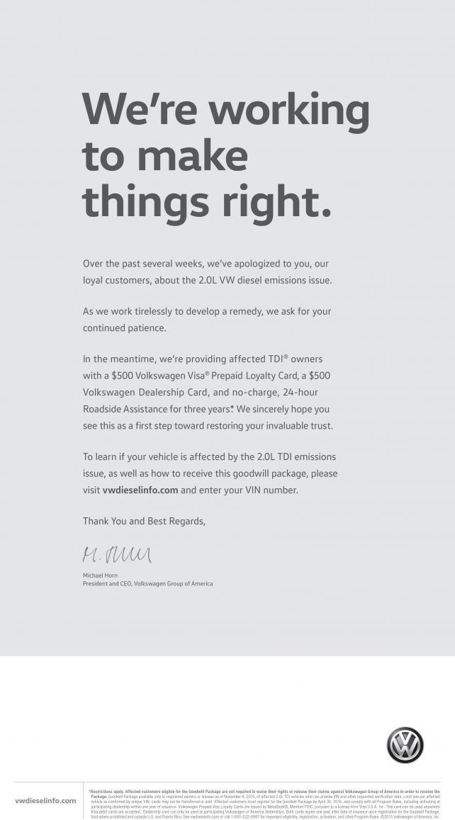 VW newspaper ad