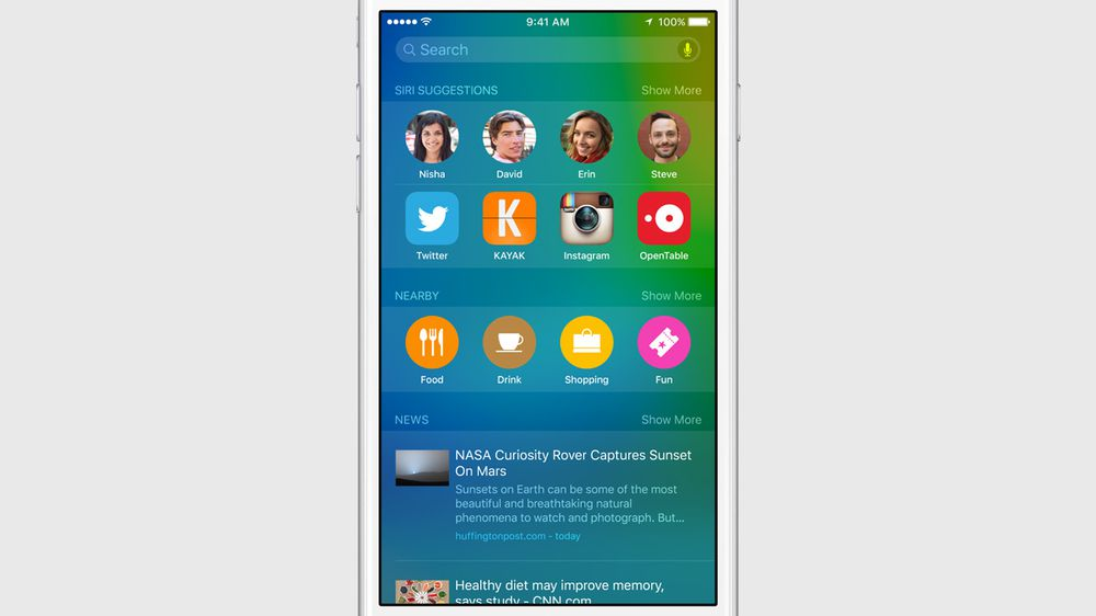 Apple iOS 9 Proactive