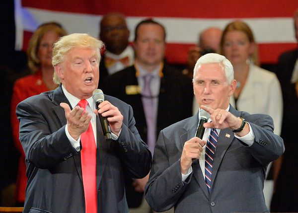 Trump and Pence at a town hall event on Monday.