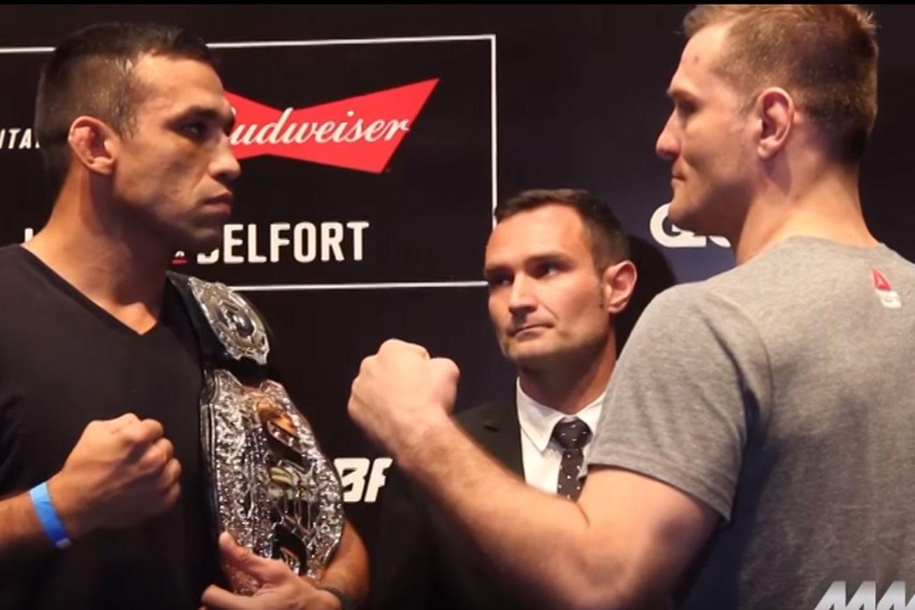 community news, Fabricio Werdum vs Stipe Miocic staredown pic, video from UFC 198 media day