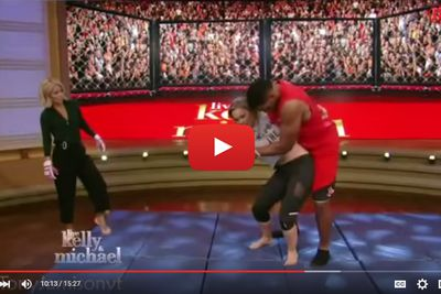 Video: Ronda Rousey sacks NFL legend Michael Strahan with violent judo toss