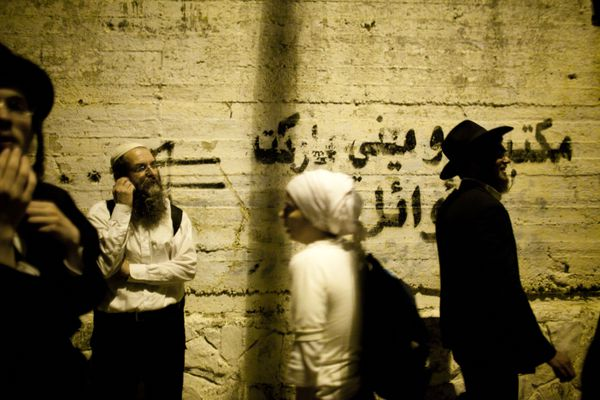 Jewish worshippers arrive outside Joseph's Tomb on July 4, 2011 in Nablus, West Bank.