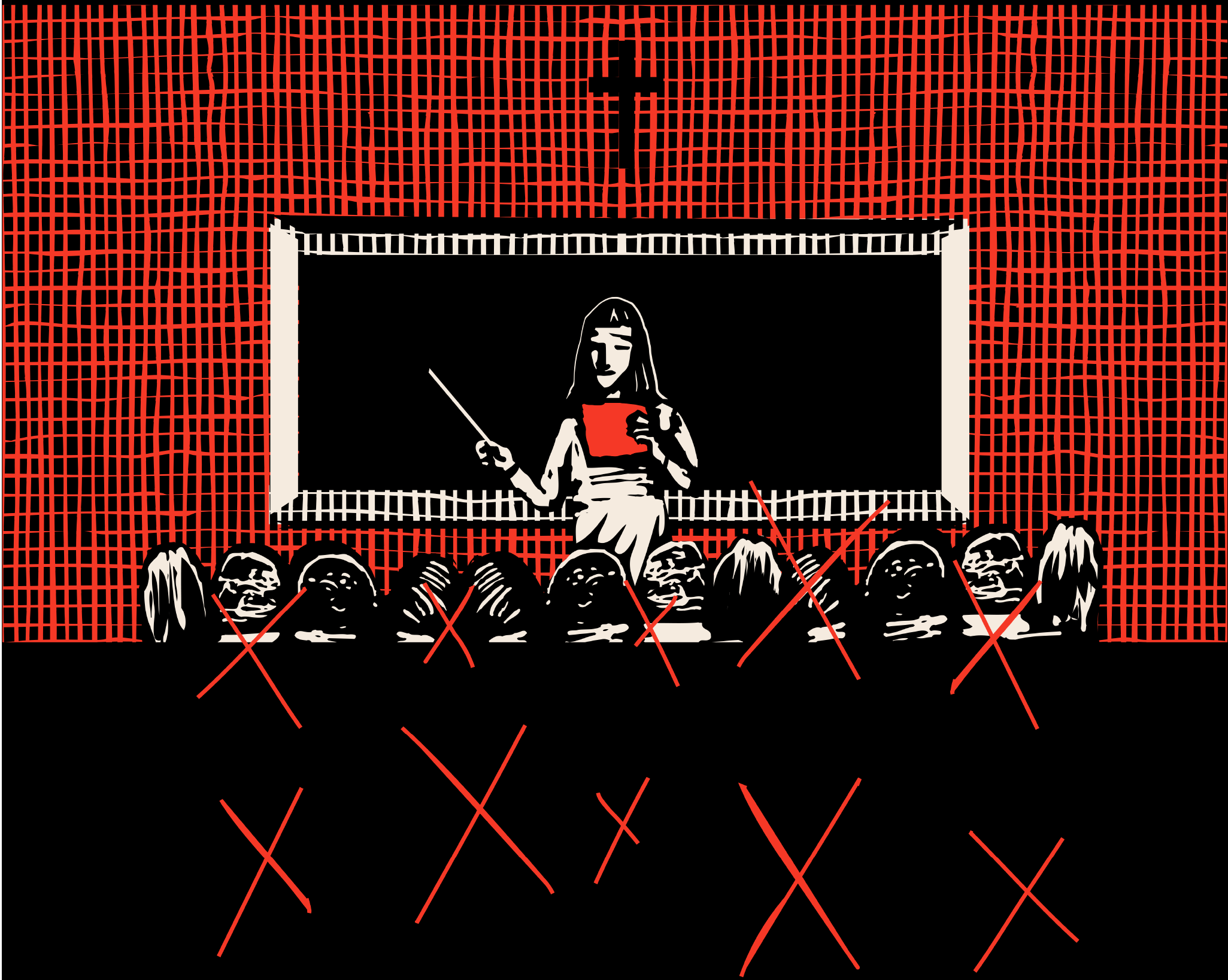 Illustration of a nun in front of a blackboard teaching a class.