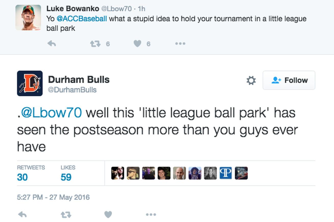 Luke Bowanko and the Durham Bulls had a Twitter fight because sure