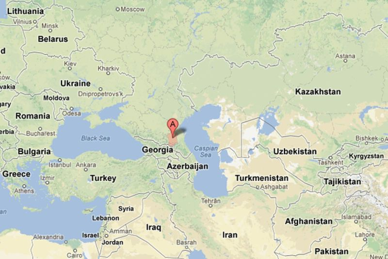 The region of Chechnya marked in red; the capital Grozny is indicated with a cursor. (Google Maps)