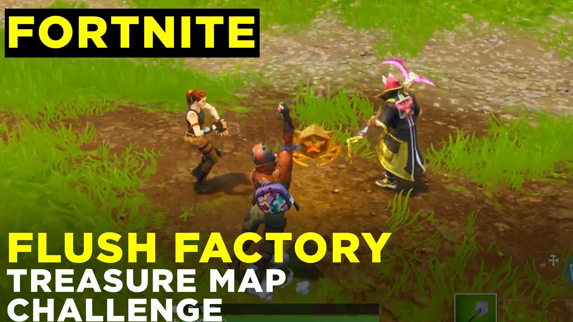 follow the treasure map found in flush factory fortnite season 5 challenge guide location - carte quad fortnite saison 7
