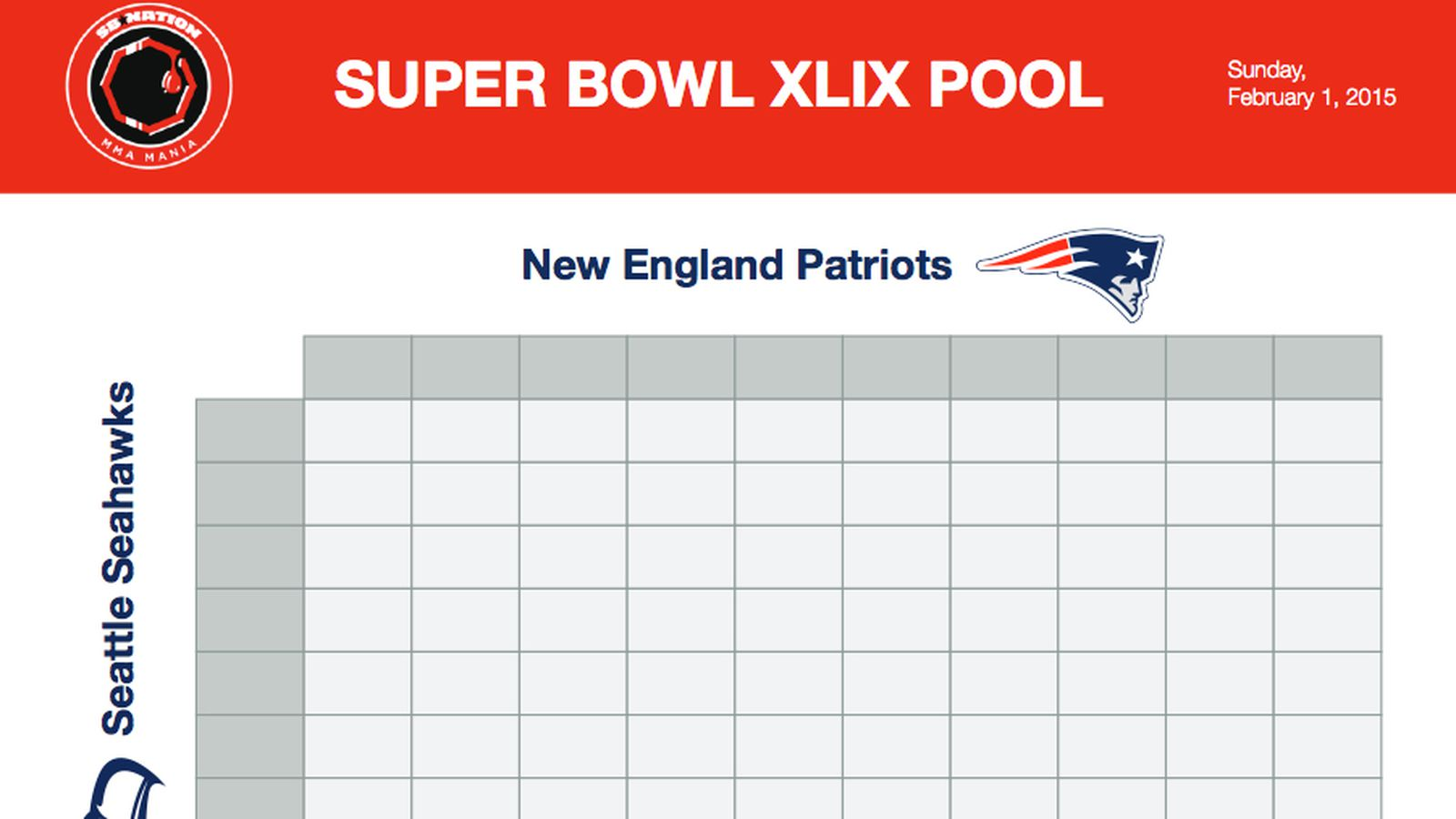 Super Bowl squares sheet game: Download printable Seahawks vs Patriots ...