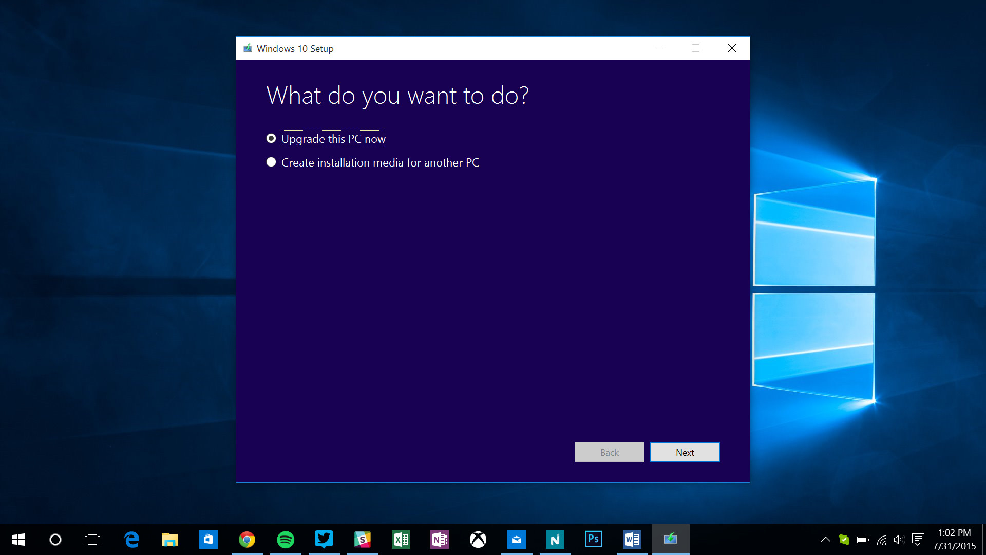 Windows 10 upgrade prompt