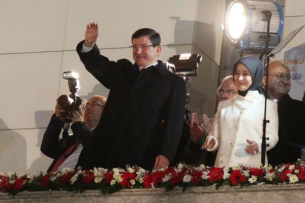 AKP Prime Minister Ahmet Davutoglu celebrates his victory.