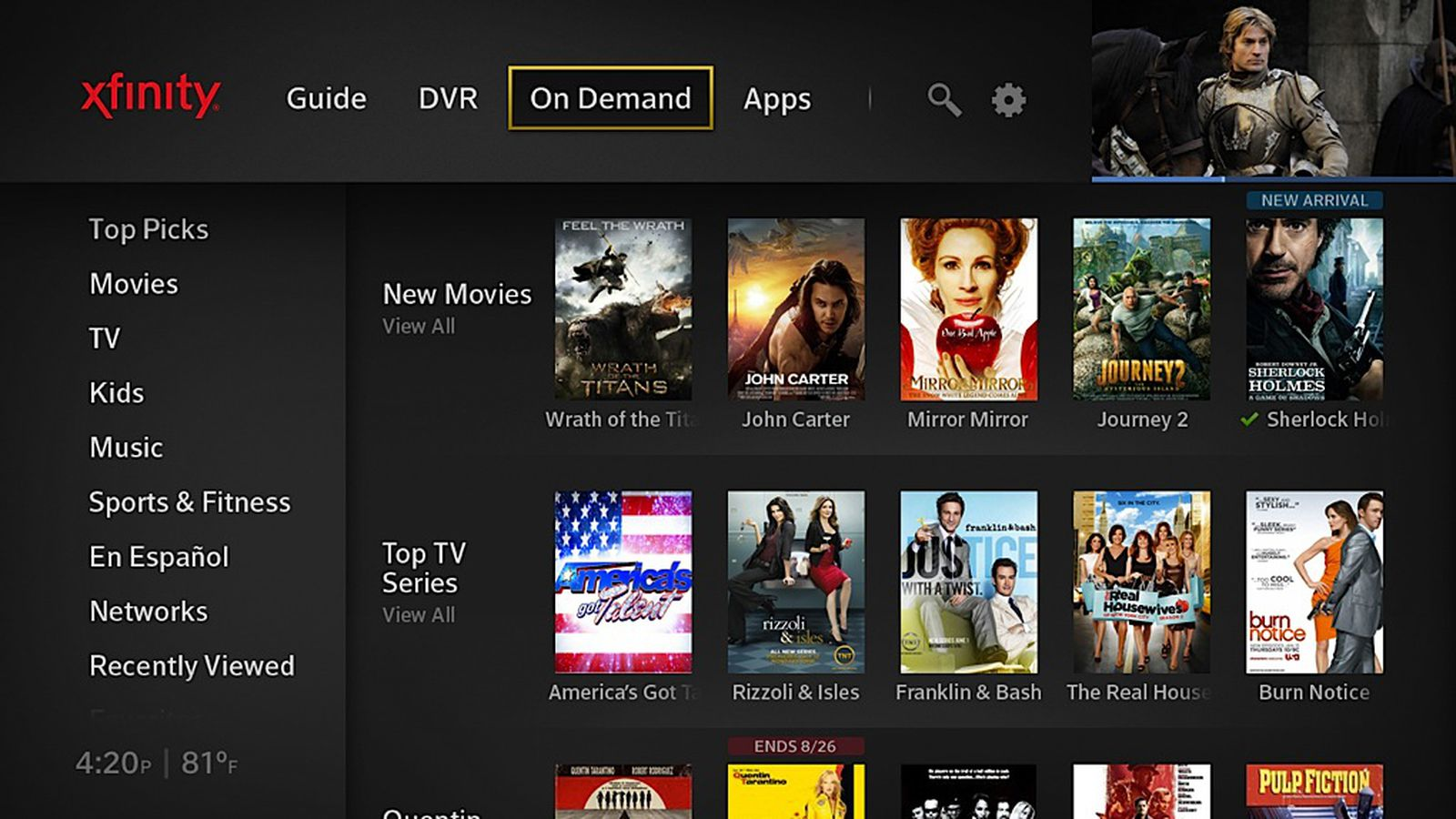 comcasts new x1 ui integrates realtime and streaming tv