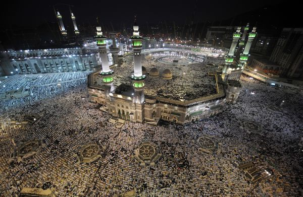 Religious pilgrims gather at the Grand Mosque in Mecca, Islam's holiest site, which fanatical terrorists sieged in 1979 (FAYEZ NURELDINE/AFP/Getty)