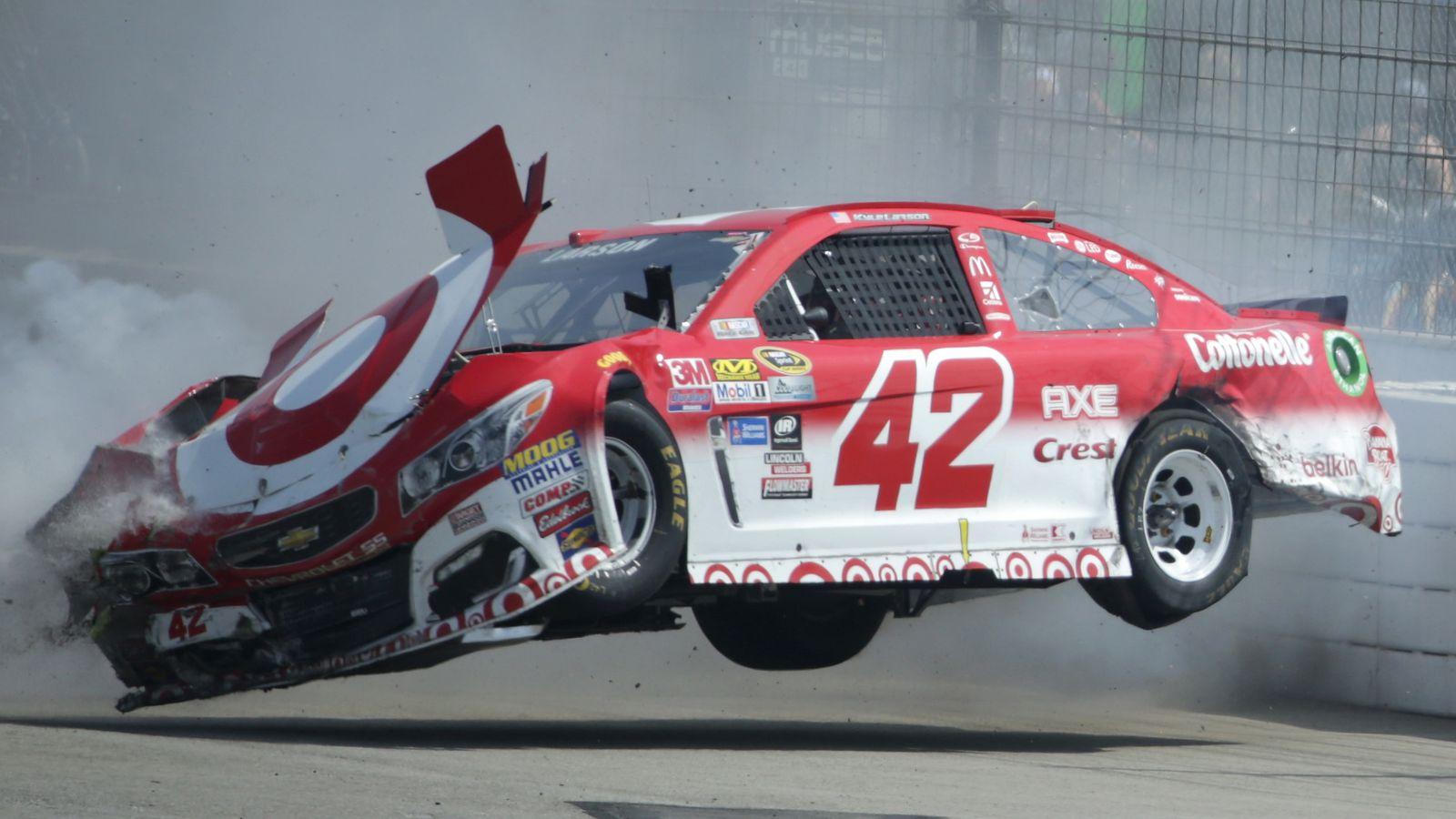 Kyle larson uninjured in violent crash that lifts car off for Larson motors used cars