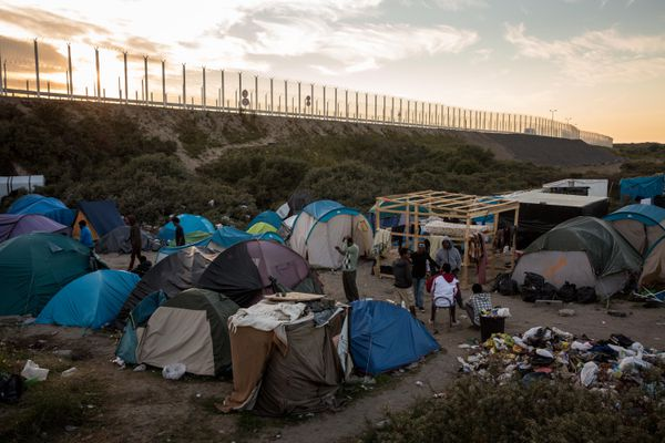 This was taken on August 2, 2015. Hundreds of migrants are continuing to attempt to enter the Channel Tunnel and onto trains heading to the United Kingdom.