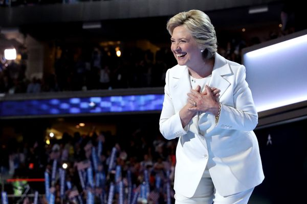 Clinton at the end of the convention.