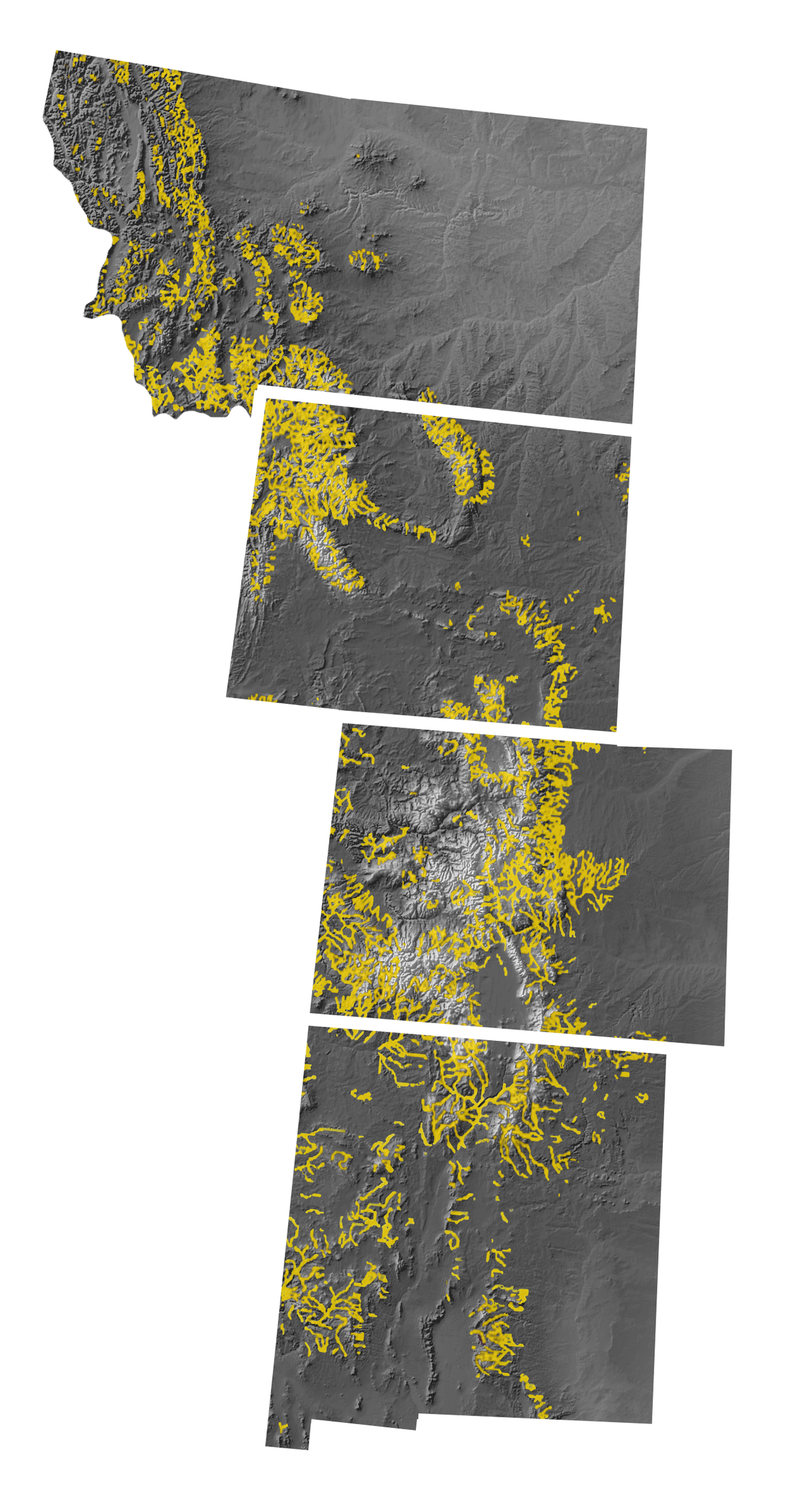 Map of Montana, Wyoming, Colorado, and New Mexico, with areas that have